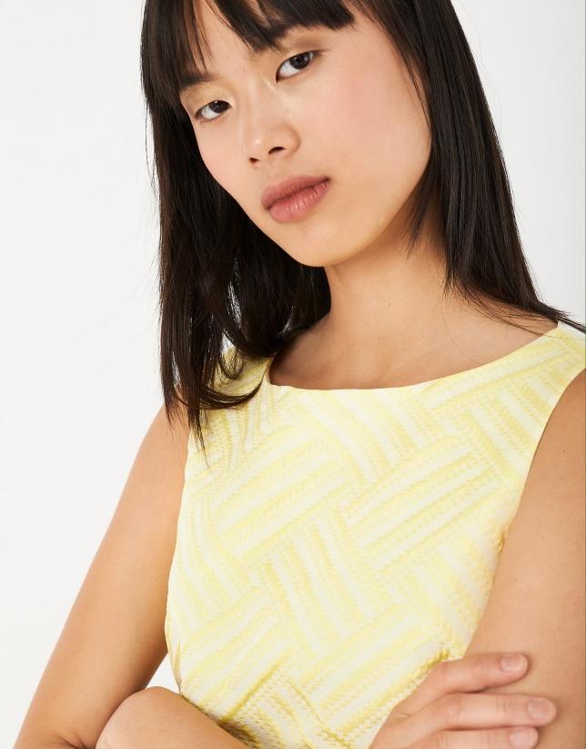 Vestido recto jacquard amarillo