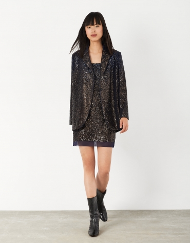 Midnight blue dress with spaghetti straps and sequins