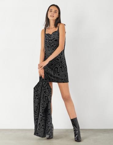 Black velvet dress with spaghetti straps and rhinestones