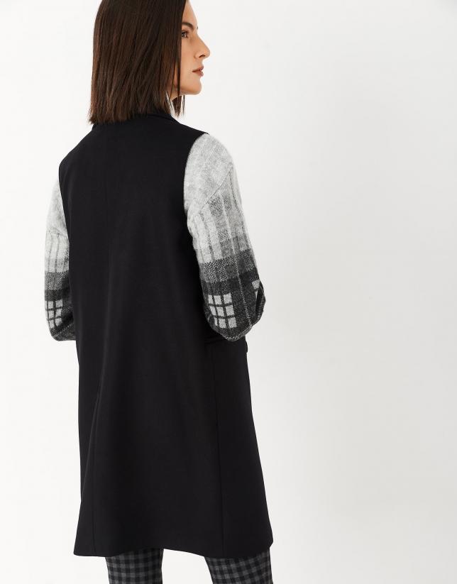 Long black wool vest