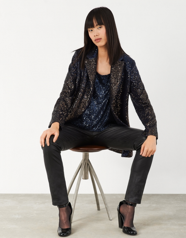 Midnight blue blazer with sequins and one button
