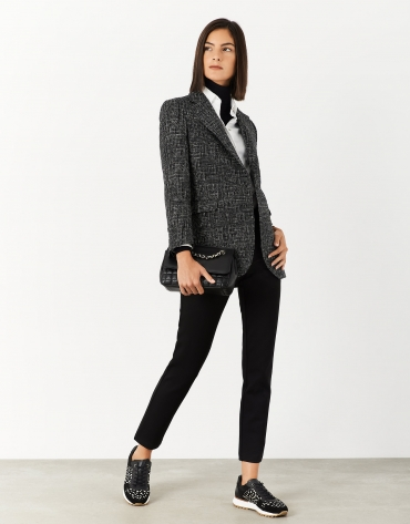 Black and white jacquard blazer with one button