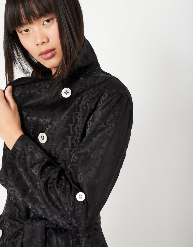 Black gabardine trench coat with logo