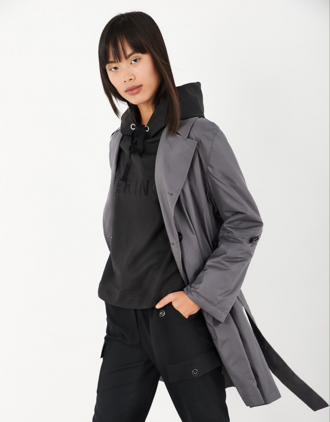Dark gray gabardine trench coat