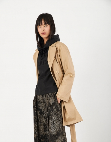 Camel gabardine trench coat