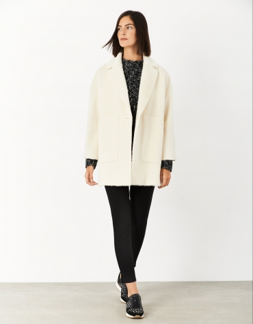 White wool and alpaca oversize coat