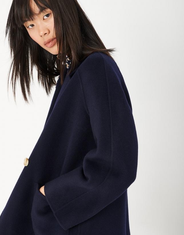 Abrigo corto azul marino doble botonadura