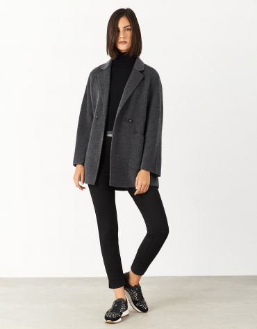 Short gray coat with double row of buttons