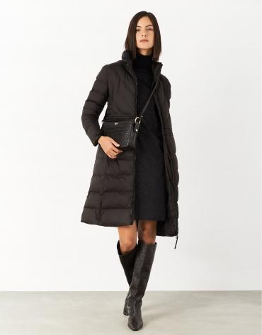 Abrigo largo acolchado marrón
