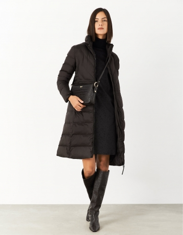 Long brown quilted coat