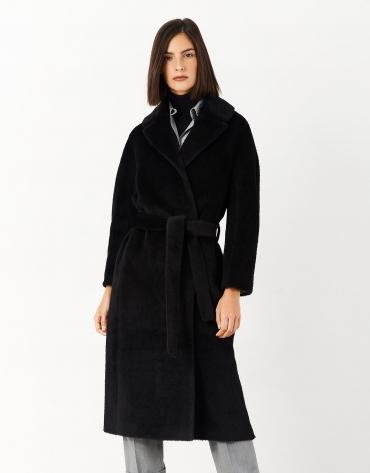 Long black wool and alpaca coat with belt