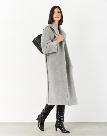 Abrigo largo con cinturón lana/alpaca gris