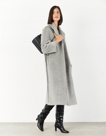Long gray wool and alpaca coat with belt