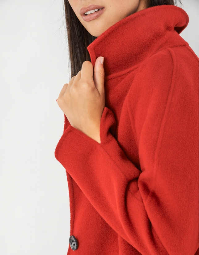 Red wool coat with slits