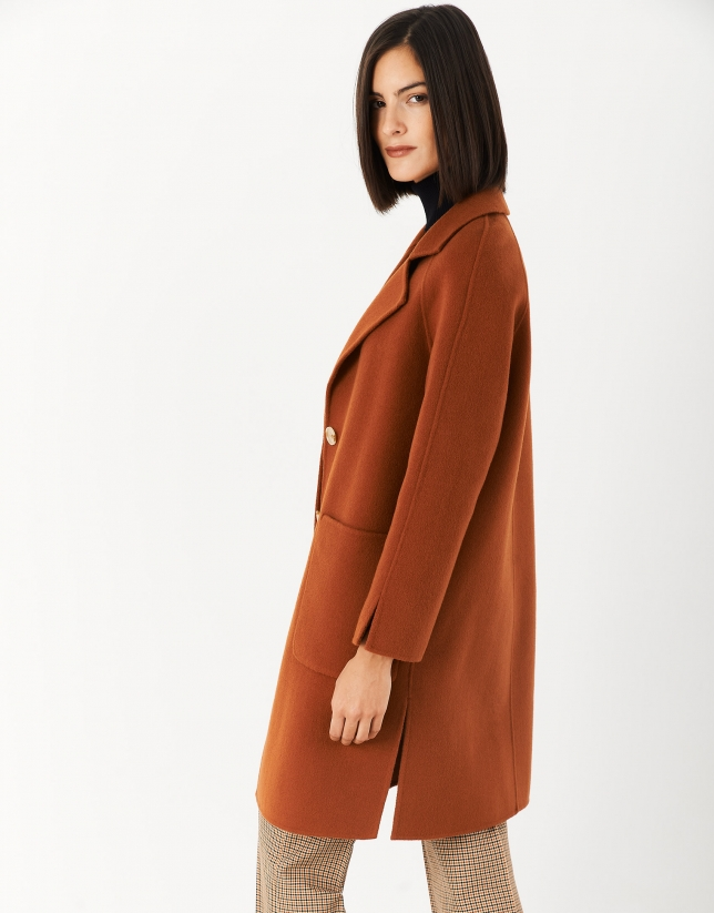 Tile colored wool coat with slits