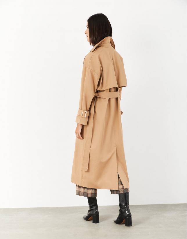 Long camel gabardine coat