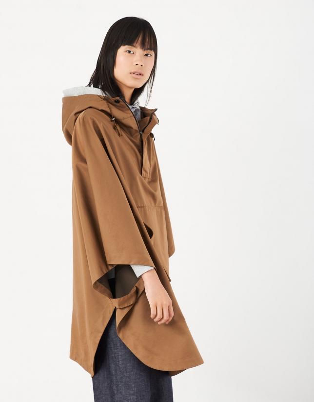 Brown gabardine poncho with hood