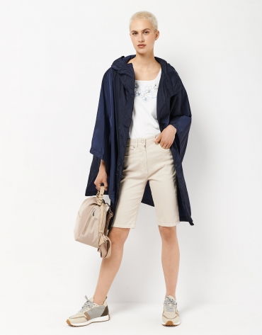 Navy blue gabardine poncho with hood
