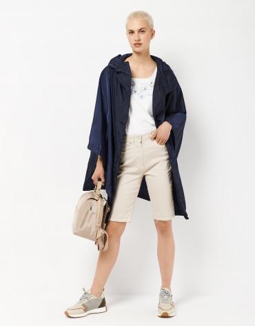 Poncho gabardina con capucha azul marino