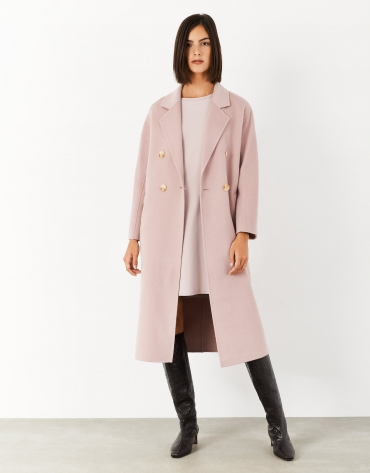 Long pink wool double-breasted coat