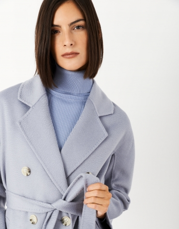Long light blue wool double-breasted coat