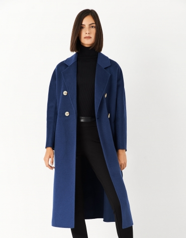 Long blue wool double-breasted coat