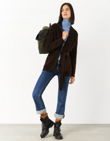 Brown knit jacket with belt