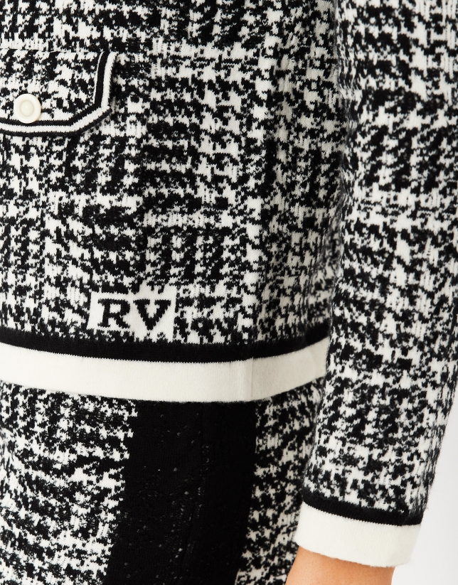 Black and white houndstooth knit jacket