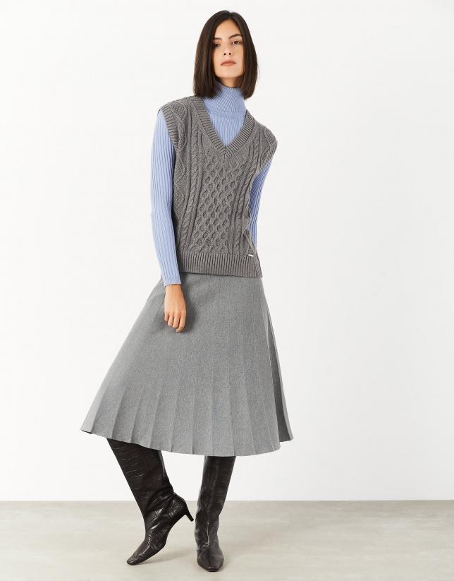 Gray knit vest with V-neck