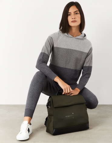 Gray knit sweater with hood