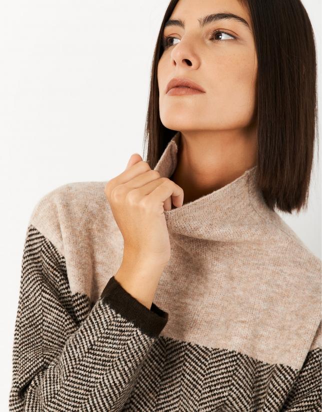 Black and beige herringbone sweater