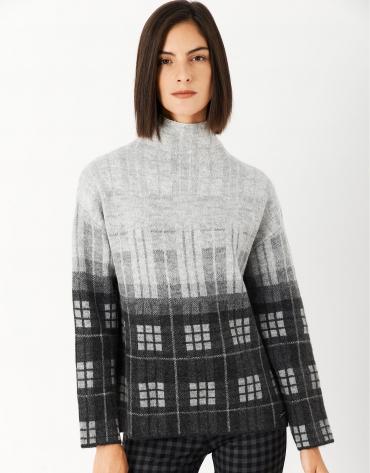 Jersey punto cuello alto cuadros gris/negro