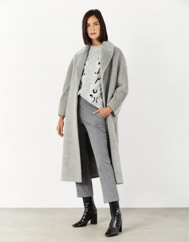 Jersey aberturas laterales gris con animal print