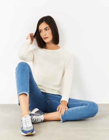 Off white fine knit sweater with horizontal stripes
