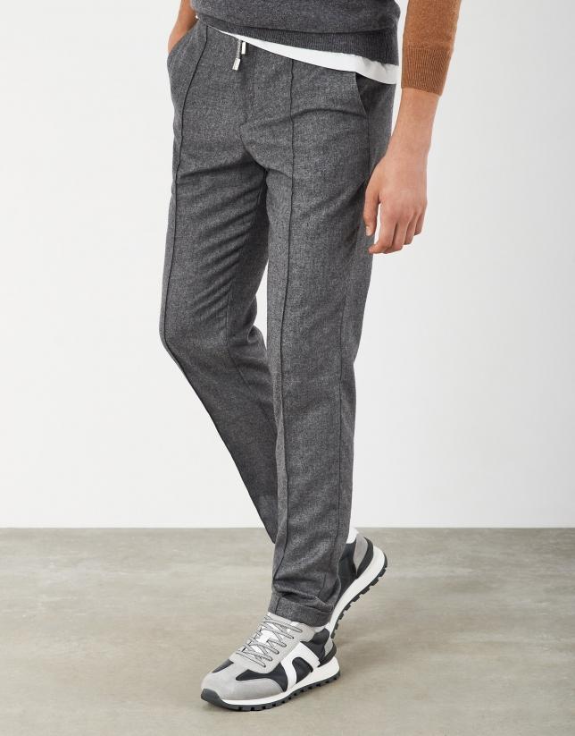 Gray pants with elastic waist