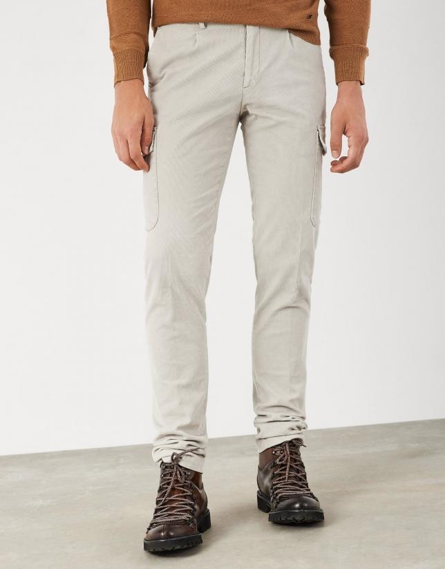 Beige corduroy cargo pants