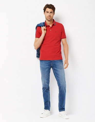 Blue stone-washed jeans