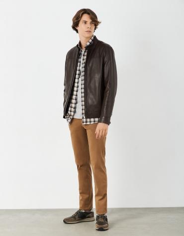 Tan regular cotton chino pants
