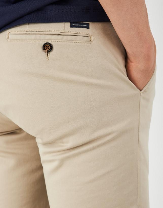 Beige regular cotton chino pants