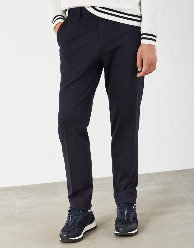Navy blue flat knit pants