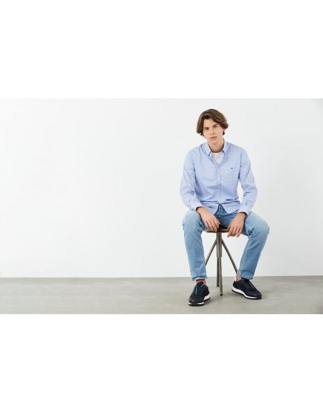 Blue and white geometric print sport shirt