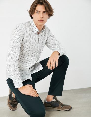 Green and white geometric print sport shirt