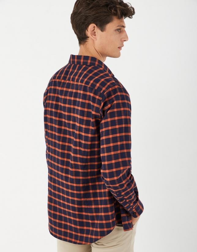Orange checked sport shirt