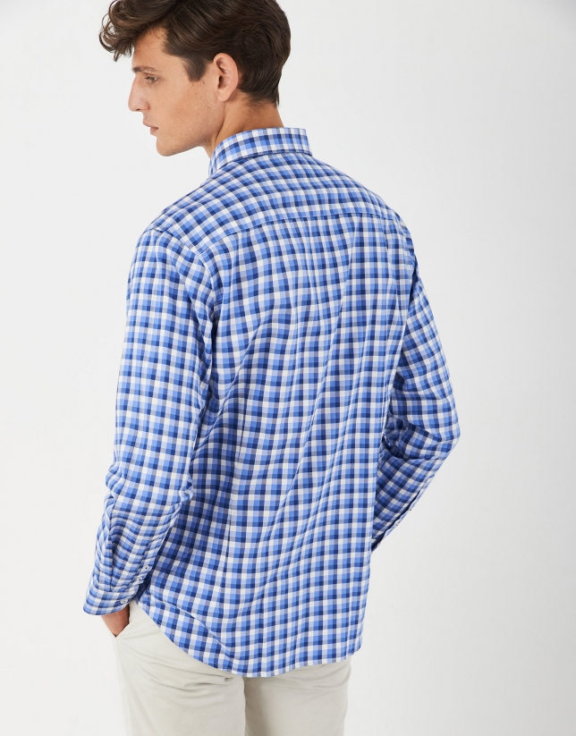 Blue and white checked Oxford sport skirt