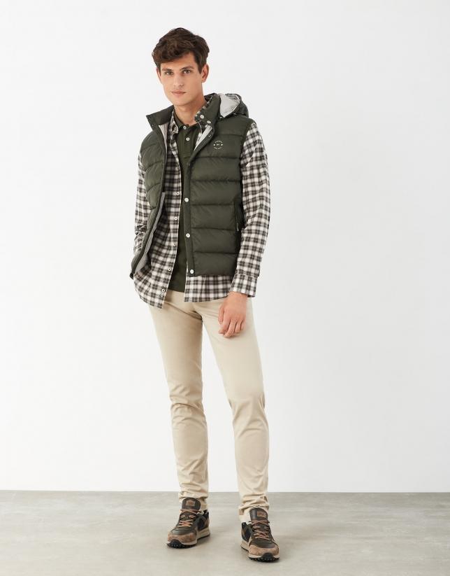 Khaki checked cotton sport skirt