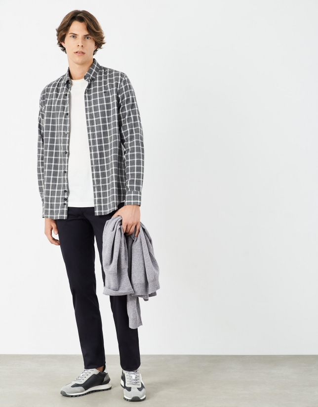Gray and white checked cotton sport skirt