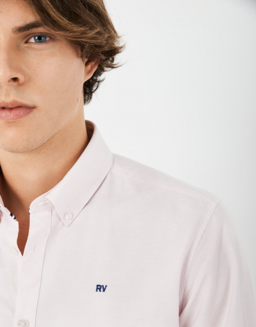 White Oxford cotton sport shirt with contrasting ribbon