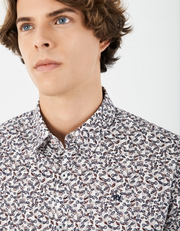 Blue and red flowers print sport shirt