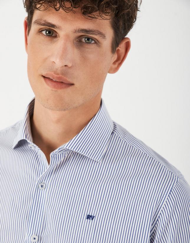 Blue striped sport shirt