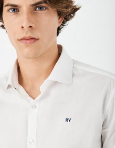 Camisa sport microdibujo blanca